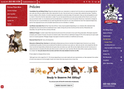 Astro Pet Sitters pricing page
