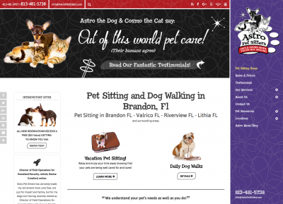 Astro Pet Sitters home page