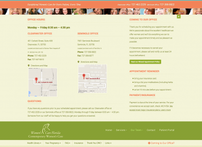 Contemporary Women's Care locations dropdown