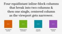 Four equidistant inline-block columns that break...