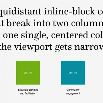 Four equidistant inline-block columns that break...