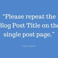 Repeat the Blog Post Title on the Blog Single...